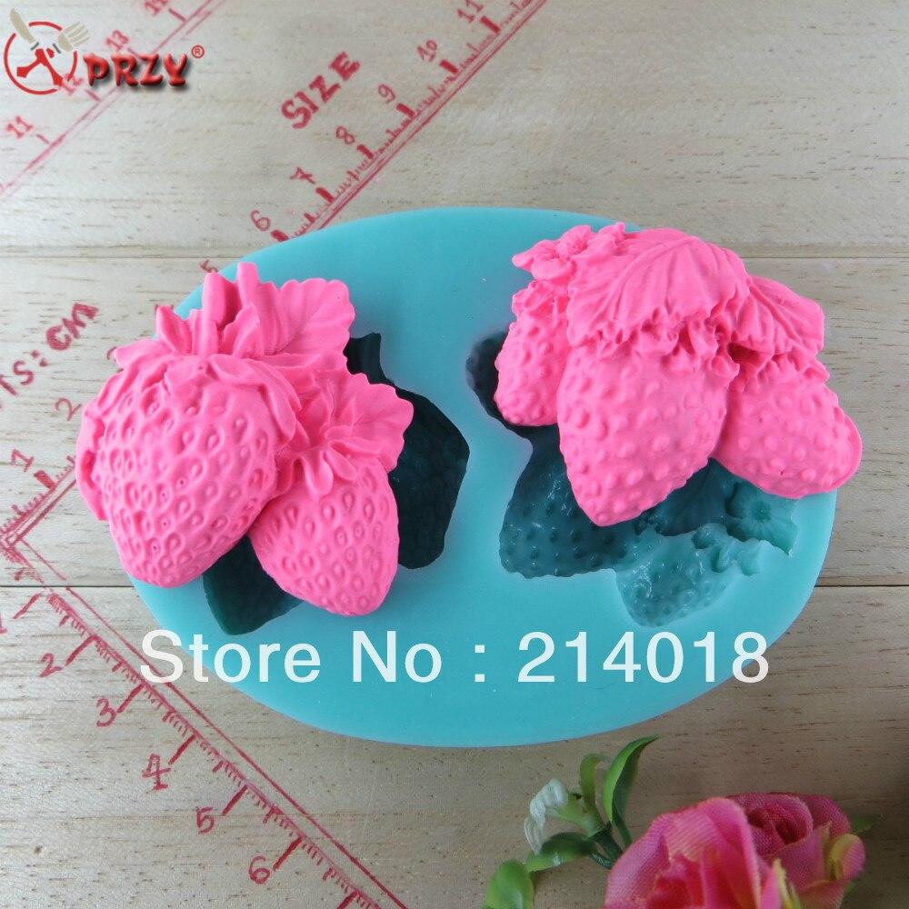 ᗛStrawberry shape Silicone 3D Fondant Cake Mold For Cake Decorating ...