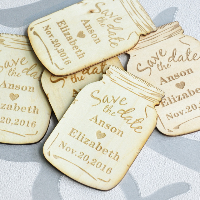 Personalized Save The Date Magnets Custom Wood Rustic Wooden Engraved