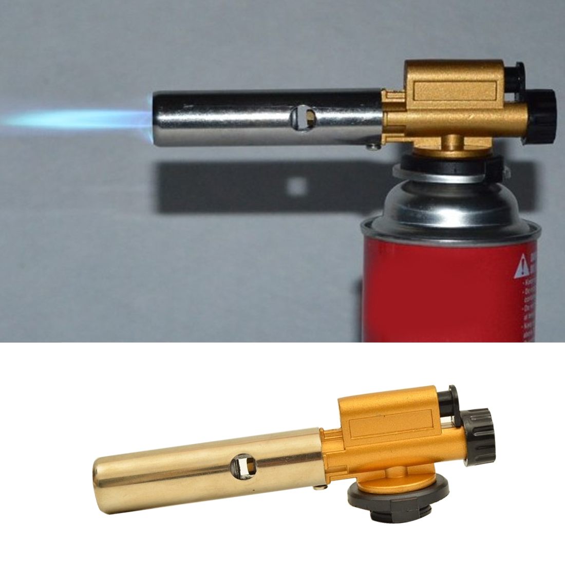 803 Metal Electronic Ignition Copper Flame Gun Butane Gas Burners Maker Torch Lighter For Outdoor Camping Picnic Cooking Welding