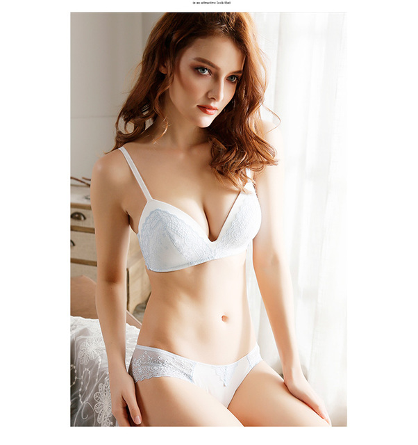Pretty Mary Women Wire Free 3/4 Cup Bra And Briefs Lace Soft Cup Bra One Piece Seamless Bra Set Lady Underwear Everyday Bra