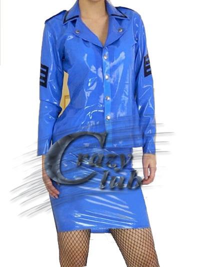 100% Pure Nature à la main en caoutchouc femmes Latex uniforme vêtements fétiche uniforme bleu armée soldat chemise et Latex fétiche vente