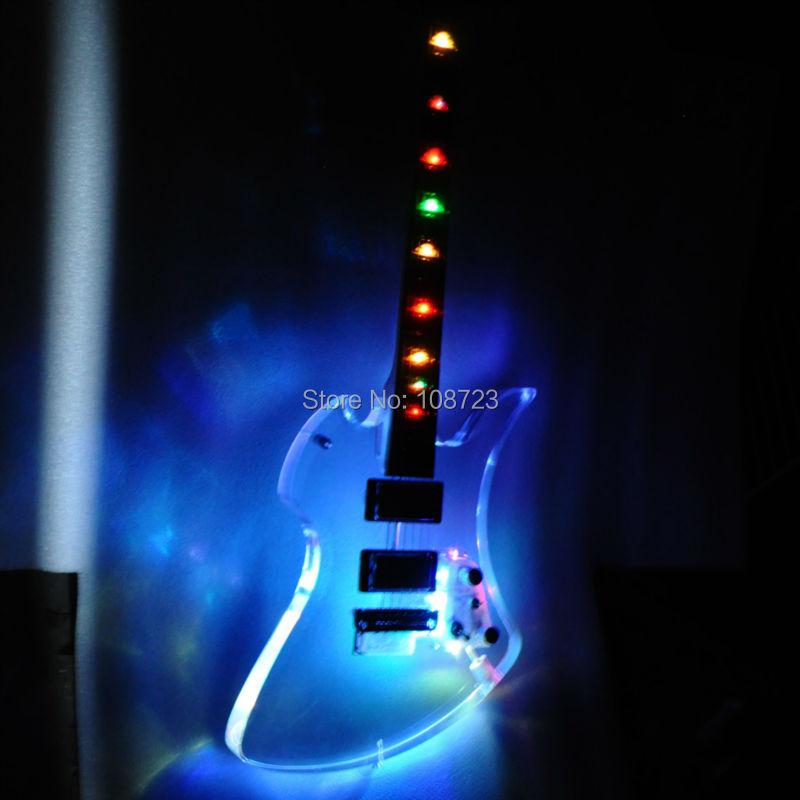Nuovo arrivo acrilico chitarra led colori chiari guitars con palissandro fingerbaord elettrica maple neck