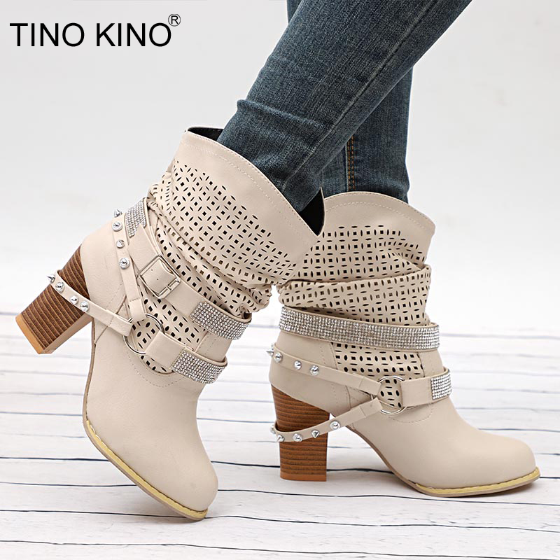 LADIES WOMENS PLATFORM ANKLE BOOTS  HIGH BLOCK HEEL CRYSTAL DETAIL SHOES SIZE