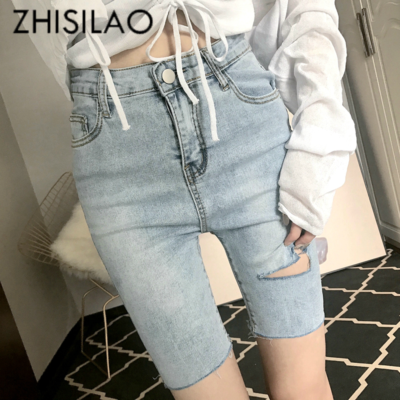 Plus Size Short Jeans Women Summer Ripped Skinny Denim Short Jeans Pants Femme 2019 Knee Jeans Stretch Street Vintage Jeans