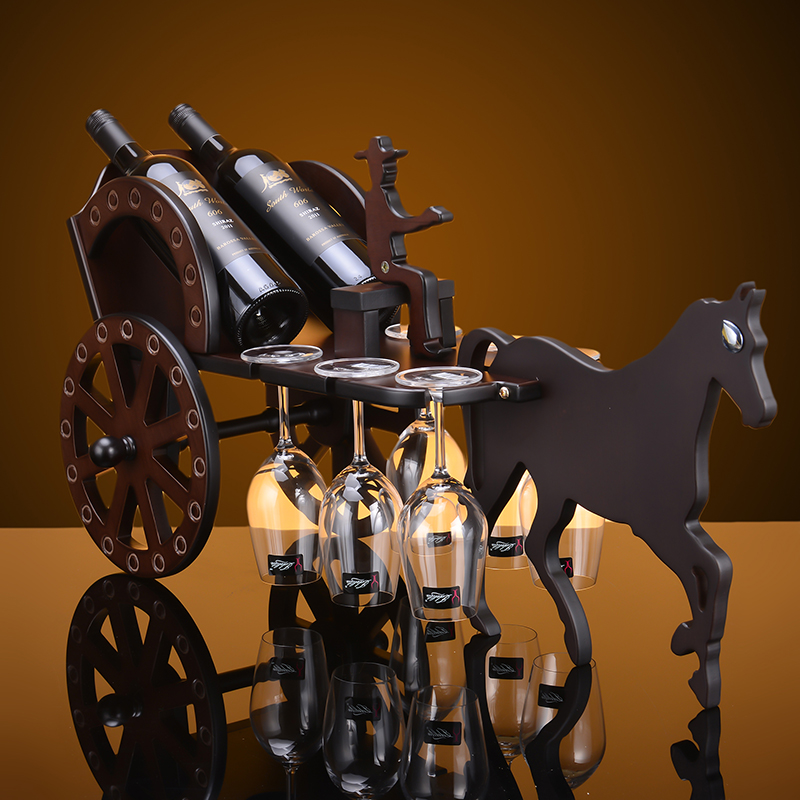 Creative European Carriage style Wine Red Wooden Red Wine Rack Two Bottles Six Cups Holders