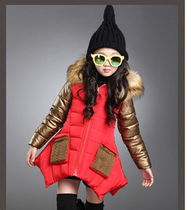 Image 3 - 4 13 years old girls winter coat childrens down jacket hooded Fur collar stitching kids Outerwear thick warm parkas fashion