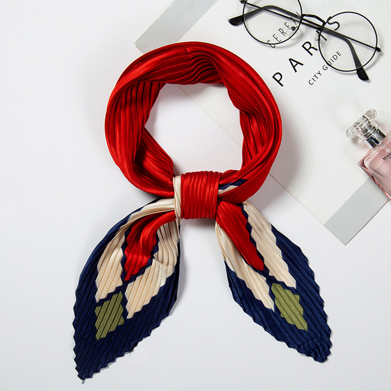 Women 39 s Small Square Silk Scarf Crinkle Hair Scarf Ladies Pleated Scarves Bandana Printed Female Foulard Handkerchief 100 30CM in Women 39 s Scarves from Apparel Accessories