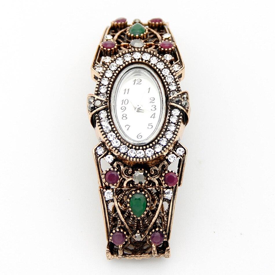 Vintage türkische Armbanduhr Armreif Schmuck Frauen Runde Blume - Modeschmuck - Foto 4