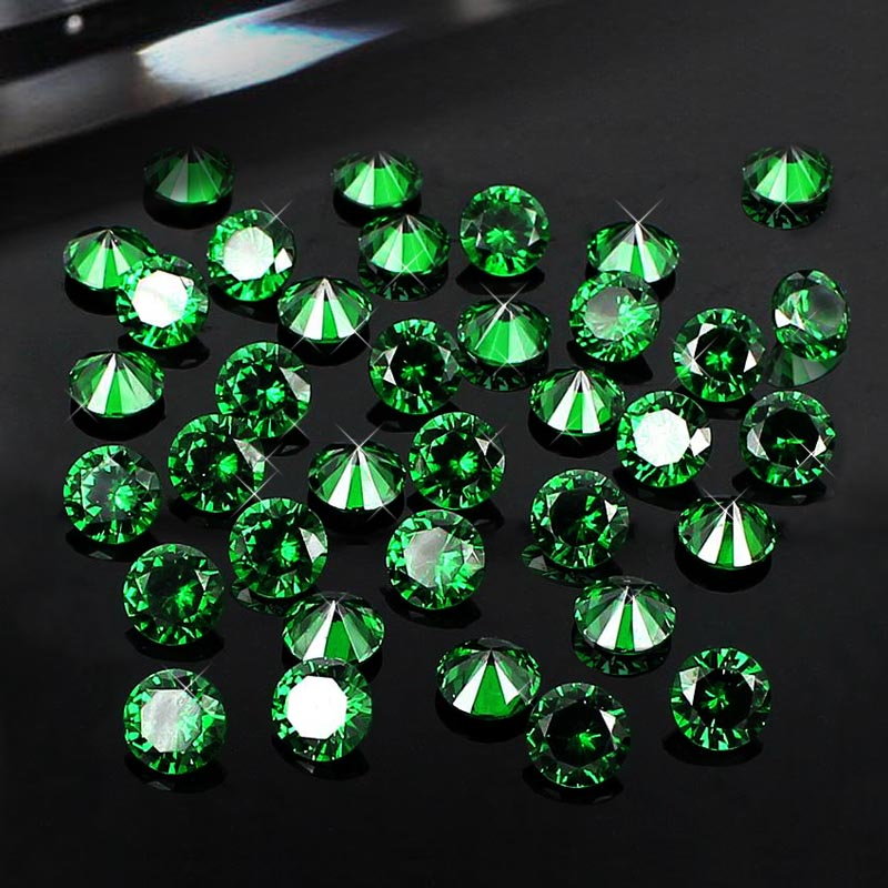 Wholesale Pointback Rhinestones Emerald 4-12mm Round Shape Brilliant Cubic Zirconia Stones DIY Jewelry Findings Accessories brilliant cuts round cubic zirconia beads supplies for jewelry nail art decorations diy 2mm 1000pcs aaaaa grade pointback stones