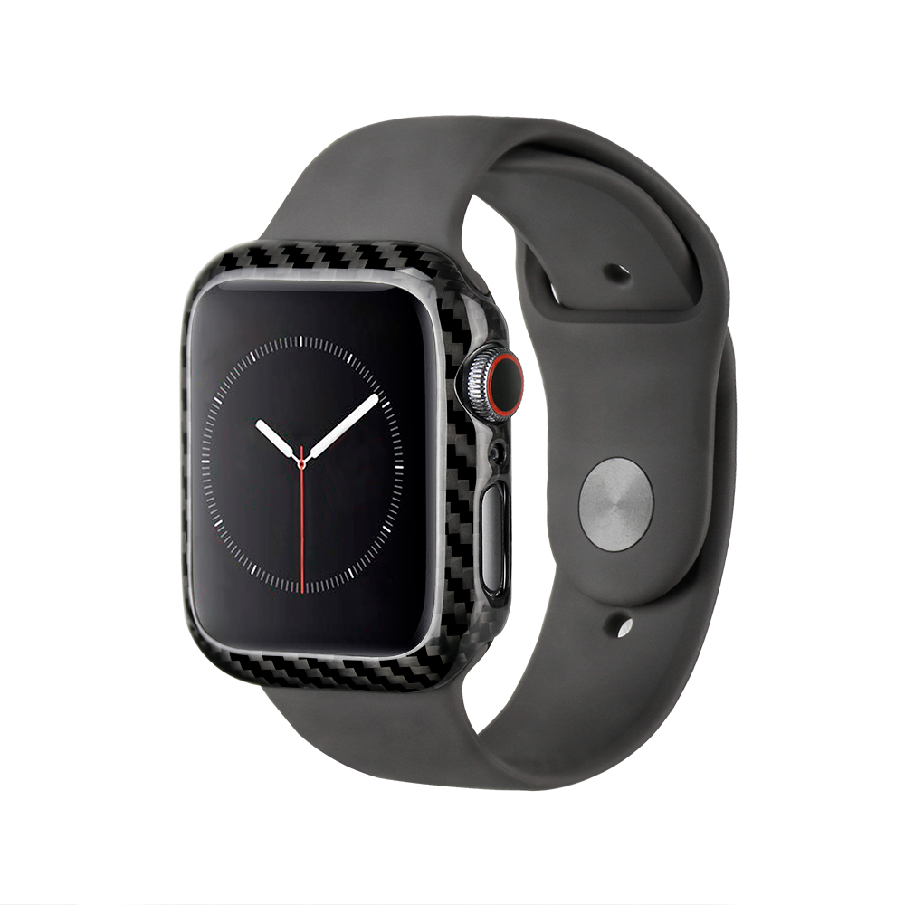 MCASE 2019 luxe Ultra mince vraie Fiber de carbone pour Apple Watch série 4 44mm mince cadre de couverture