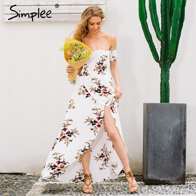 Simplee boho estilo largo dress mujeres hombro playa de verano dress chifon blanco maxi dress vestidos de año nuevo de la vendimia de festa
