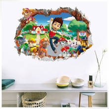 Stickers Background Wall-Decoration Paw Patrol Children's-Room Waterproof Cartoon 3D