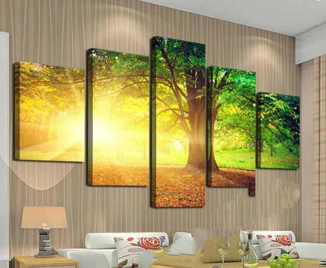 5pcs modern home decorative realistic Wall Art Picture printed green ...