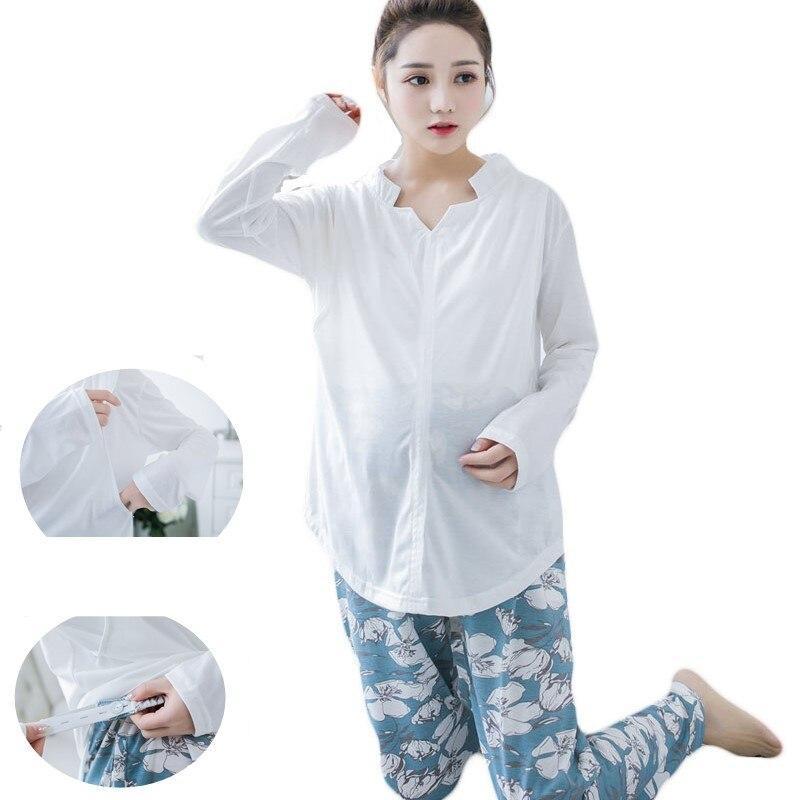 Summer Spring Autumn Breastfeeding White Shirt Floral Pants Maternity Sleepwear Set Cotton Maternity Nursing Clothes pajama suit