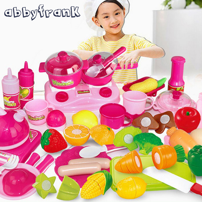 Abbyfrank 46 pcs/ensemble Mini Bébé Cuisine Set Jouets de Cuisine Pour Enfants Jeux de simulation Miniature Fruits Alimentaire Légumes Thé Ensemble de Cuisson jouets