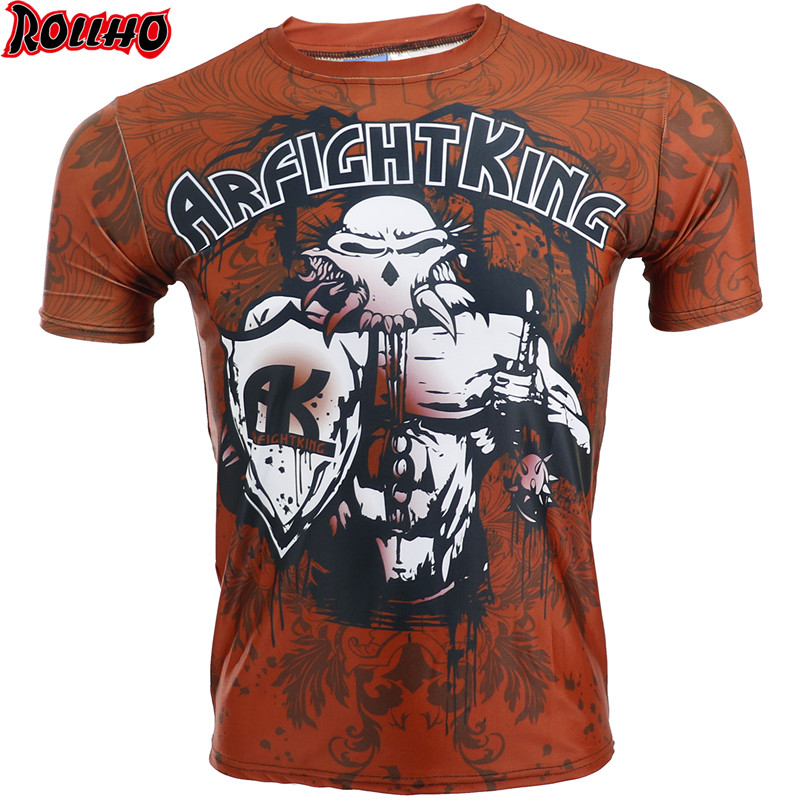 ROHHLO Quick Dry Fight MMA T-Shirt Boxing Jerseys Gym Shorts Boxing Fitness Sport Muay Thai Breathable T Shirt Men Kickboxing