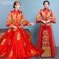 Rommantic Невесты Одежды показать вечернее платье китайский стиль формальные красный дракон халат Халат кимоно ла халат де mariage de style chinois