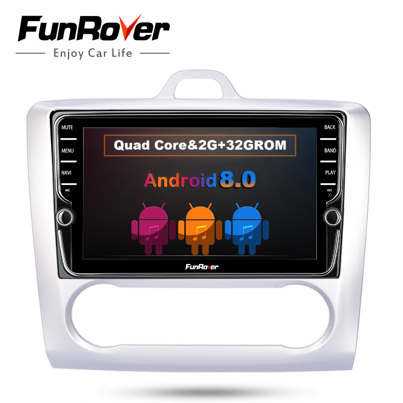 FUNROVER IPS 8 Android 8.0 2 din Car DVD GPS For Ford Focus mondeo navi video Stereo Radio multimedia RDS BT wifi video no dvd