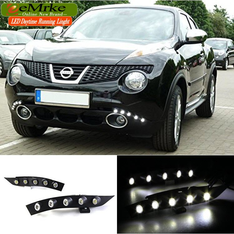 eeMrke Car LED DRL For Nissan Niss Juke F15 2010 2011 2012 2013 2014 Xenon White DRL Fog Cover Daytime Running Lights Kits