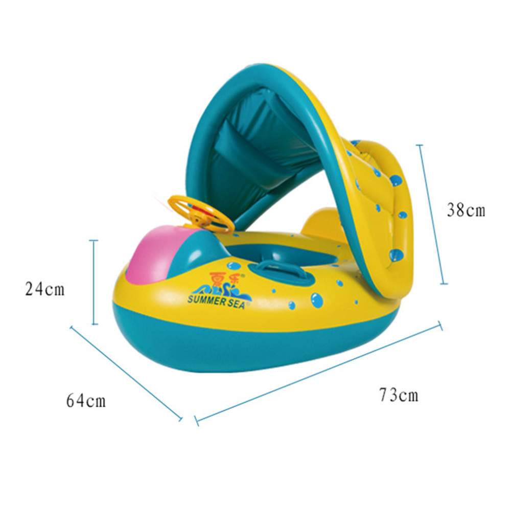 Buoy Boat Inflatable with Protection Solar Babies Children Mattress Swimming