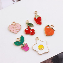 Wholesale 50PCs Gold Tone Plated Oil Drop Charms Enamel Love Heart Fruit Cherry Strawberry Peach Plant Egg Pendant Charm Pendant