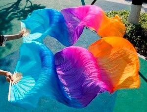 Image 5 - Хит 2018, высококачественные женские шелковые вуали для танца живота, 100% натуральный шелк, радужная цветная вуаль, одна пара (2 шт.)