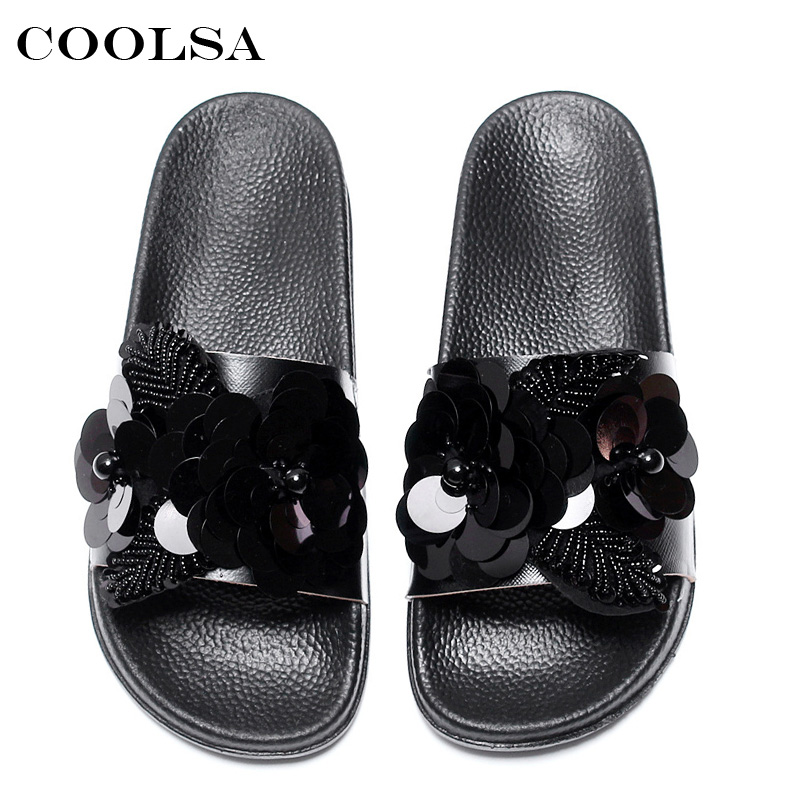 e63354e8c94f7 Coolsa Summer Women Beach Slippers Flowers Bling Sandals Flat Non Slip  Sequins Ladies Jelly Slides Home Flip flops Casual Shoes -in Slippers from  Shoes on ...