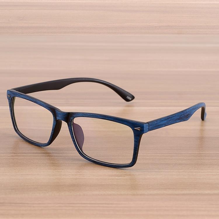 კვადრატული სათვალეების ჩარჩოები ნათელი ობიექტივი ოპტიკური ჩარჩო ხის იმიტაცია