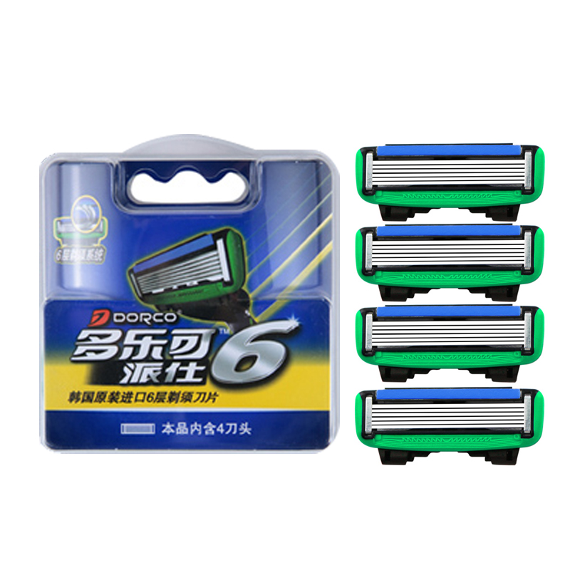 Very High-quality Genuine Original Dorco Pace 6 Men Manual Razor Blades 6-Layer Blade Stainless Steel Blades 4 PCS d11 commercial blenders parts mixer 6 blades stainless steel original 67 02a