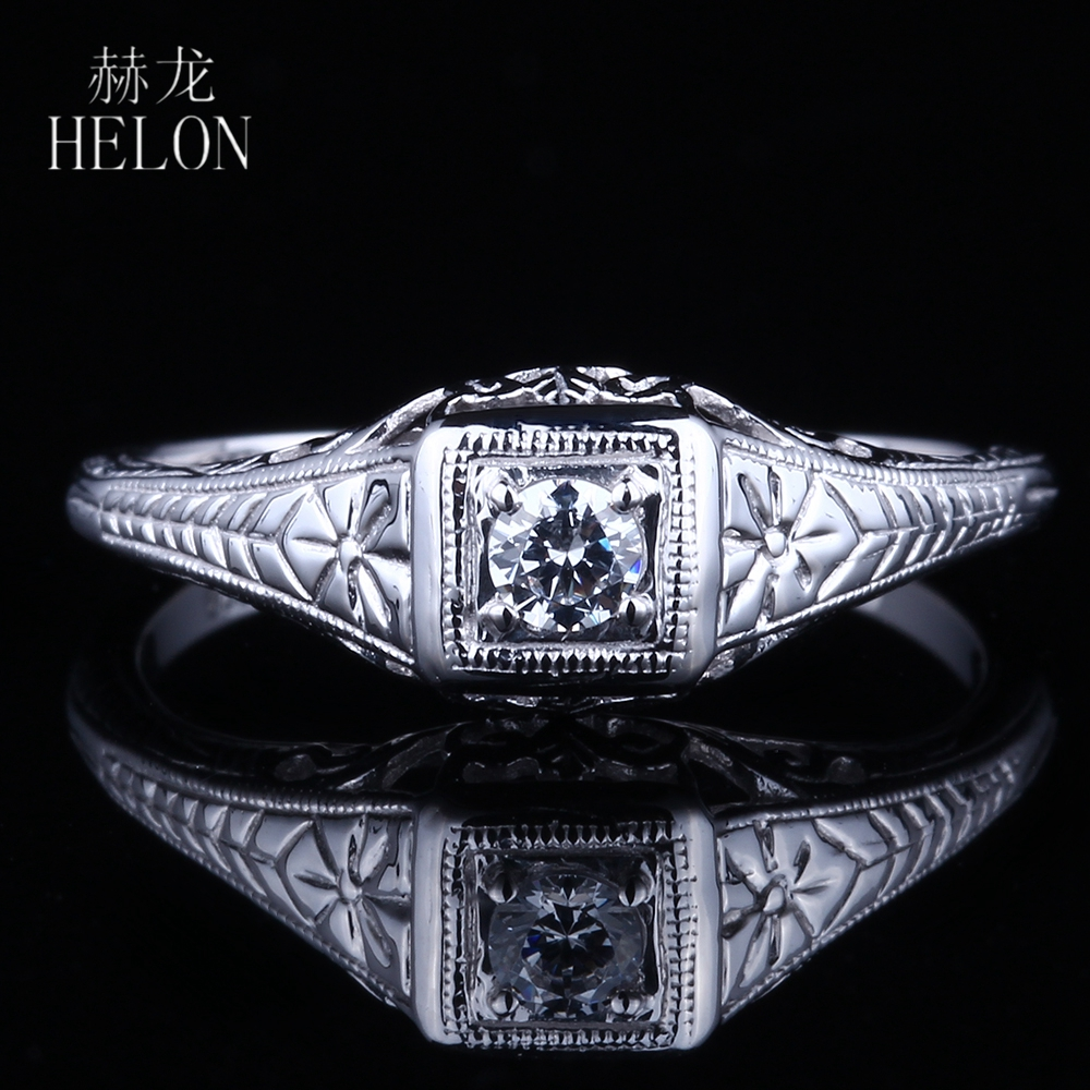 HELON Sterling Silver 925 Antique Vintage Art style Jewelry 3mm Round Moissanite Diamond Engagement Wedding Women