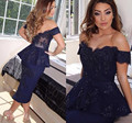 Navy Blue Sheath Tea Lengh Off The Shoulder Lace Appplique Cocktail Dress With Peplumn Vestido De Festa Curto