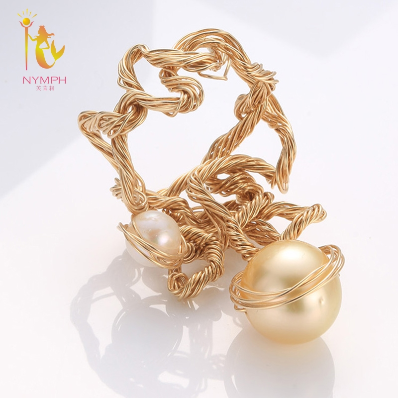 NYMPH Natural Seawater Pearl Ring Fine Jewelry Big Rings For Women Near Round Gold Pearl Ring 2018 Birthday Gift J323 on near la rings