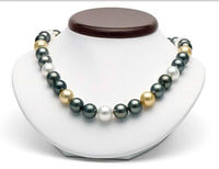 charming 10 11MM NATURAL freshwater WHITE GOLD BLACK PEARL NECKLACE 18 14K GOLD