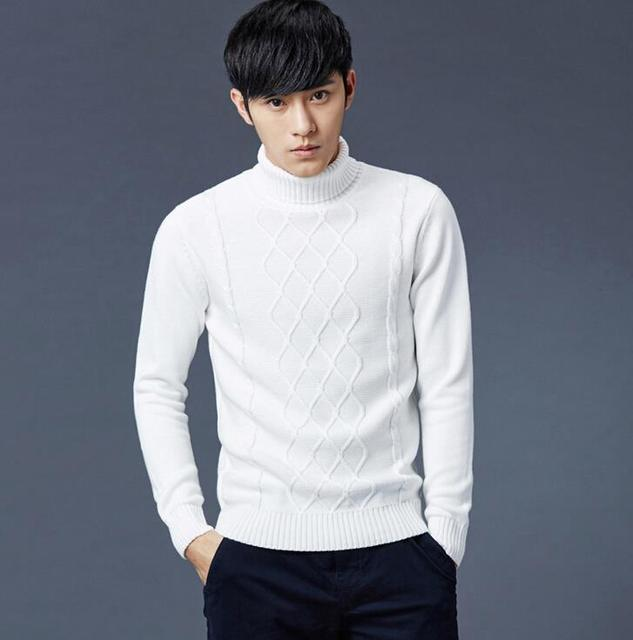 Top Quality Pullover Mens Cotton Turtleneck Sweater Solid Fashion