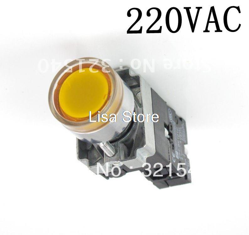 1 N/O XB2BW35B1C Momentary Yellow Flush Pushbutton With 220VAC Pilot Light Lamp