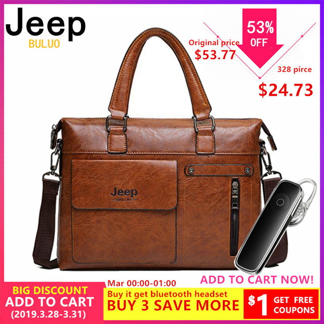 f4787f92031 Famous Designer JEEP BULUO Brands Men Business Briefcase PU Leather  Shoulder Bags For 13 Inch Laptop