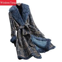 Winter Warm Coat Blue Sheep Wool Fur Callor Coats Womens Tassel 2018 Tweed Plaid Oversize Belt Long Woolen Overcoat Outerwear