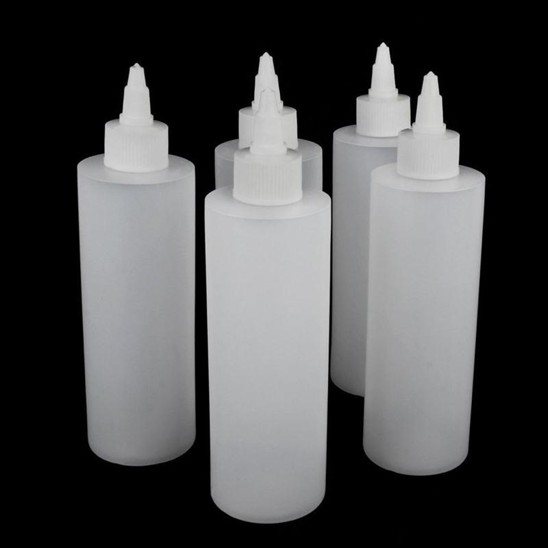 5pcs 250ml Plastic Empty Bottle for Tattoo Ink Pigment Squeeze Bottles Twist Cap Cosmetic Tool Tube Container Makeup Accessories