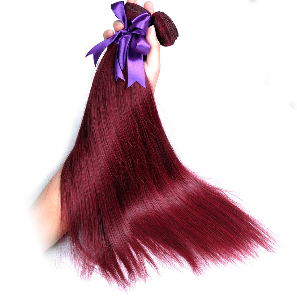 Peruvian Straight Hair Bundles Burgundy 99J Red Human Hair Weave Extensions Shinng Star One Piece Non Remy Hair Weaving Can Dye