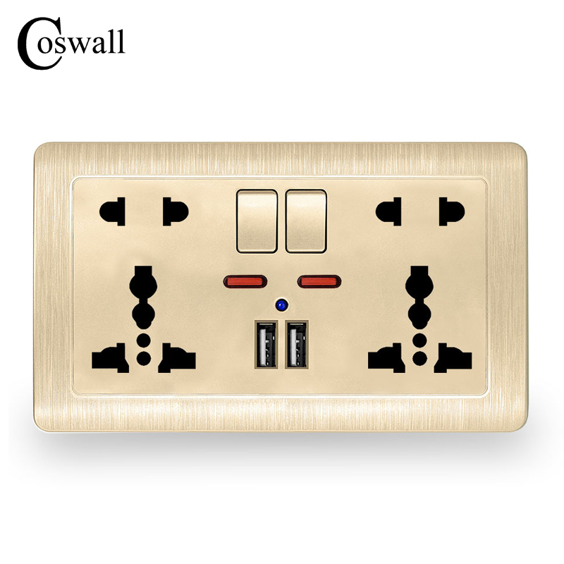 Coswall Wall Power Socket Double Universal 5 Hole Switched Outlet 2.1a Dual Usb Charger Port Led Indicator 146mm*86mm Electrical Sockets