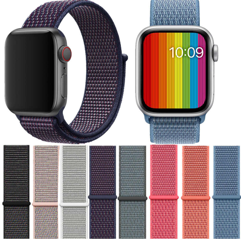 Soft Lightweight Breathable Nylon Sport WatchBand for Apple Watch 4 Series 3/2/1 Strap Wristband 38mm 42mm 40mm 44mm watchbands