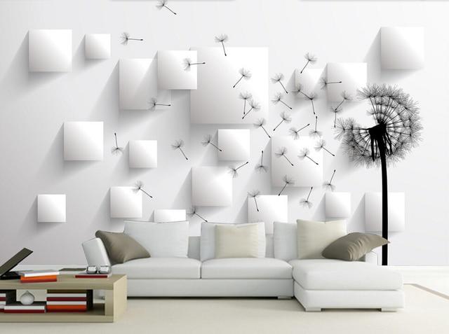 Charmant Papier Peint Personnalisé Fleurs Murales, Perspective De Pissenlit, 3D  Moderne Pour Salon Chambre TV