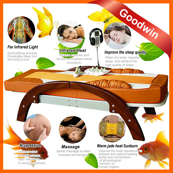 Adjustable Hospital therapy thermal jade stone massage bed