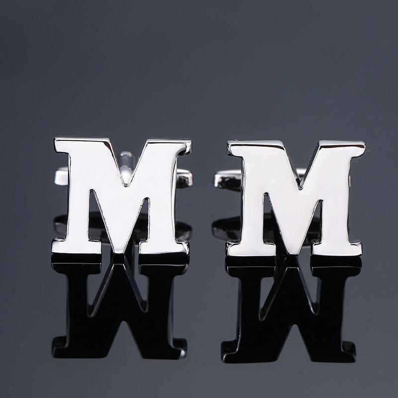 DY new High grade brand Brass material Silver letter M Cufflinks Mens French shirt Cufflinks free shipping