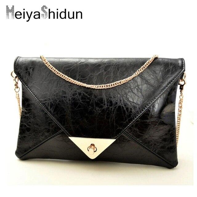 Meiyashidun Women Messenger Bags Lady Envelope Handbag PU Leather Evening Party Clutch Chain Bags Pouch Bag Wallet Purses bolsos