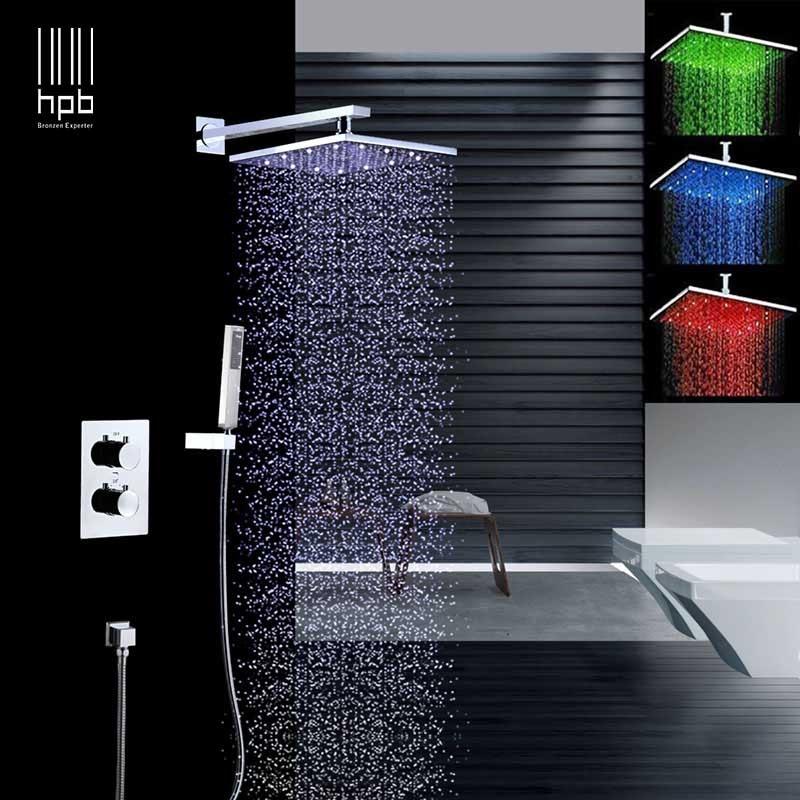 HPB laiton 8 ''carré 2 voies lumière LED de pluie robinets de douche ensembles complets mélangeur douche ensembles avec vanne thermostatique 001-8-2B
