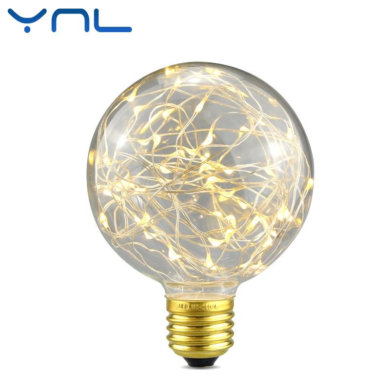 YNL Vintage Fée LED Edison Ampoule G95 E27 220 V RGB Guirlande lumineuse lampe À Incandescence Pour Intérieur De Noël Vacances Nuit lumière