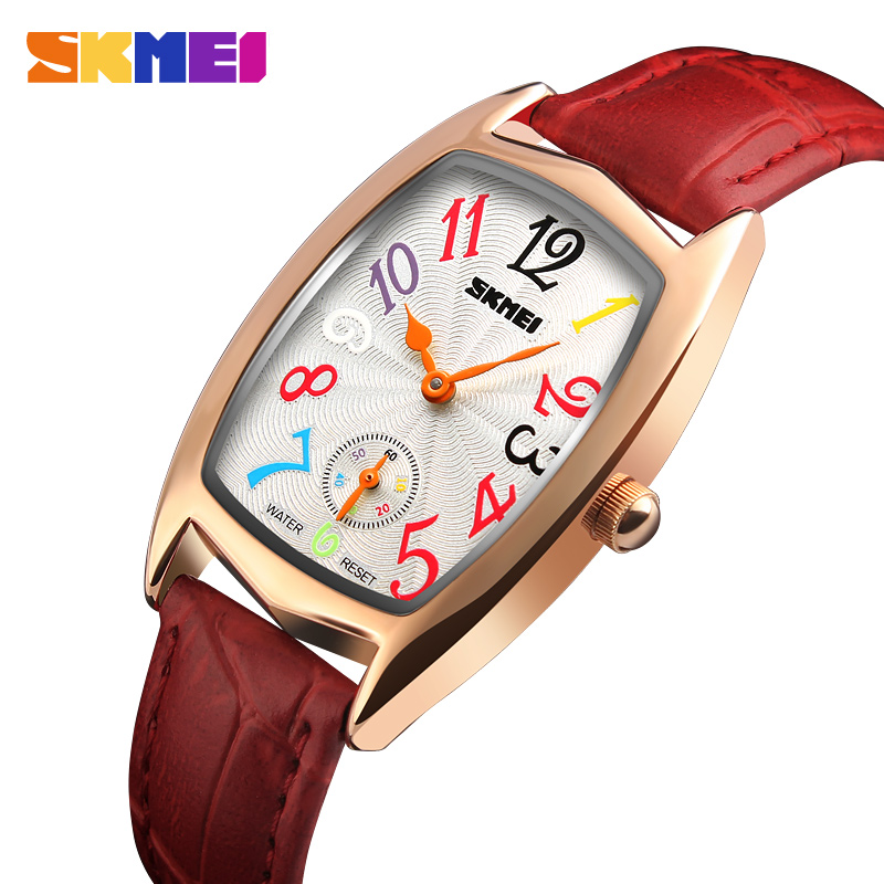 SKMEI Women Watches Top Brand Luxury Famous Quartz Watch Waterproof Leather Ladies Wrist Watches Clock Women Relogio Feminino