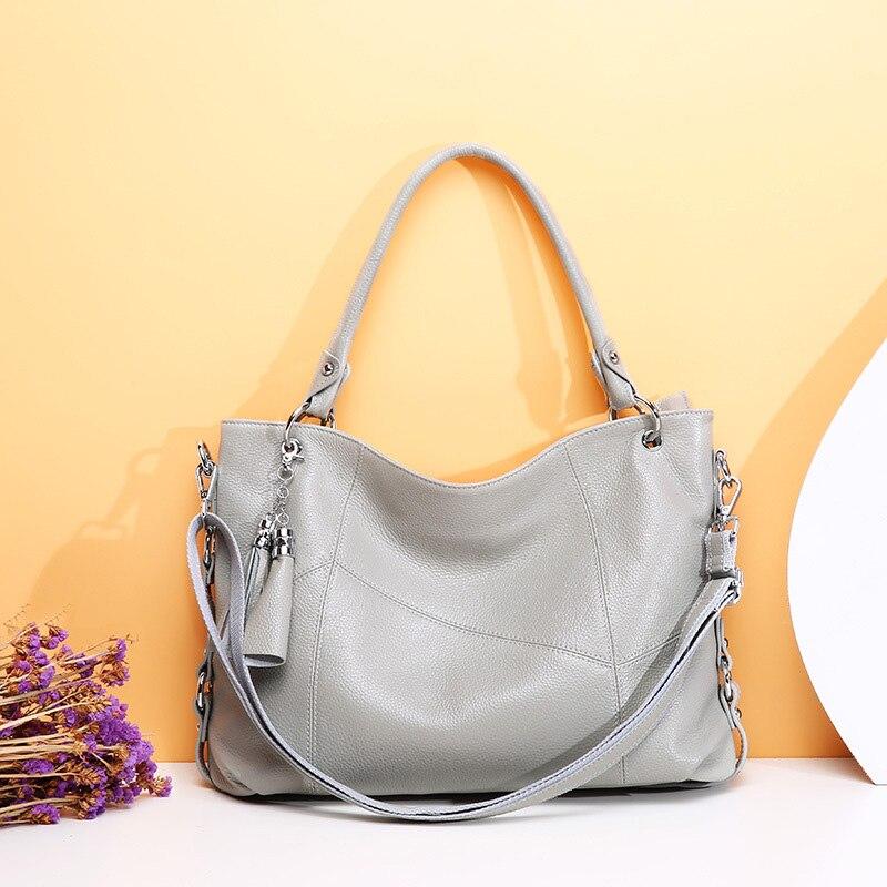 100% ソフト本革バッグハンドバッグ女性の有名なブランドファッションショルダーバッグ黒革ハンドバッグホーボーレディースハンドバッグ 2019  グループ上の スーツケース & バッグ からの ショッピングバッグ の中 1