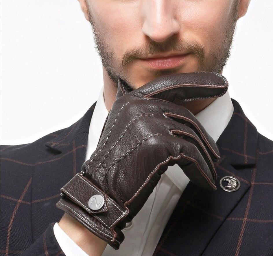 Top qualité doux peau de daim hommes gants pleine mode 100% gants en cuir véritable hiver automne hommes gants de luxe